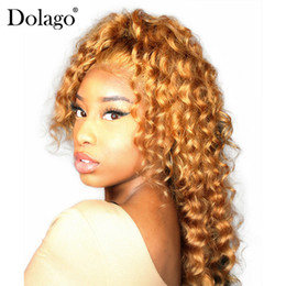 French Blonde Lace Wigs Australia - Colorful 250% Density Deep Wave Wig Blonde 13x4 Lace Front Human Hair Wigs For Black Women 27# Brazilian Hair Remy Honey Dolago