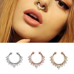 nose clicker 2019 - 50pcs Rhinestone Alloy Hoop Nose Ring Non Piercing Fake Clip On Septum Clicker Unisex Crystal Body Jewelry discount nose