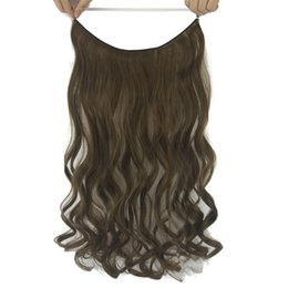 Blonde Halo Hair Australia - 60cm Long Curly Black Blonde Synthetic Hair Accessories Fish Line Halo Invisible Hair Hair Pieces Headwear