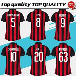 2018 2019 Milan Home Women Soccer Jersey 18 19  10 CALHANOGLU Soccer Shirt   8 SUSO  5 BONAVENTURA  63 CUTRONE Football Uniform 0e969c84c