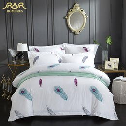 Colorful Modern Bedding NZ - Colorful Feather Printed Luxury Bedding Set 3 4 Pieces High Quality 100% Cotton Duvet Cover Set Full Queen King Size Bed Cover
