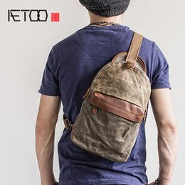small wax bags 2019 - AETOO Vintage Chest Bag Oil wax canvas small crossbody bag summer carry-on sports pack cheap small wax bags