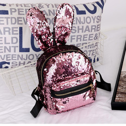 3db1a0c3d2 Korea Lovely Reversible Mini Sequins Backpack Cute Rabbit Ears Shoulder Bag  For Women Girls Travel Bag Bling Shiny Backpack