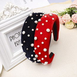 pearl hair accessory wholesale Australia - Women Female Turban Padded Headwear 4cm Wide Headband Pearl Inlaid Thick Sponge Hair Bands Elegant Hair Accessories Party Favor