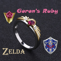 zelda rings NZ - The Legend Of Zelda Ocarina Of Time Link Spiritual Stones Gorons Ruby Sterling 925 Silver Valentine's Day Gift Engagement Ring J190612