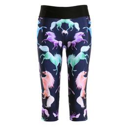 42f168ad3e2c8 Unicorn Pants Australia - Women Capril Pants Color Unicorns Pattern  Printing Women Sportswear Polyester Skinny Summer