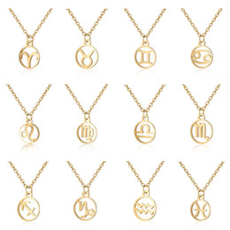 $enCountryForm.capitalKeyWord Australia - Wholesale Custom Zodiac Necklace 12 Star Signs Birthday Gifts Stainless Steel Round Constellation Charm Pendant for Women Girl
