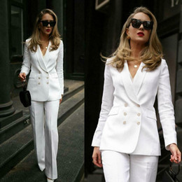 long formal suit jacket for women Canada - White Mother Of The Bride Suits Double Breasted Women Business Work Uniform Formal Outfit For Weddings Tuxedos Blazer (Jacket+Pants)