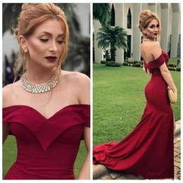 Plus Size Dresses Occasion Wear Australia - Sexy Burgundy Mermaid Dresses Evening Wear Off The Shoulder New 2019 Simple Satin Prom Dresses Sweep Train Plus Size Special Occasion Dress