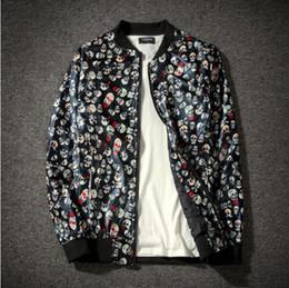 Skull Army Jacket Australia - New Jacket Loose Men's Bomber Jacket Men's Casual Hip Hop Baseball Collar Print Fashion Smooth Streetwear