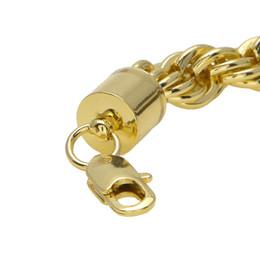 Mens Twist Chains Australia - 10mm Thick 76cm Long Rope Twisted Chain 24K Gold Plated Hip hop Twisted Heavy Necklace For mens