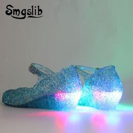 Color Plastic Sandals Australia - Girls Shoes Glowing Sandals Kids Led Light Shoes 2019 Children Elsa Sandals Baby Girls Flat Princess Beach Sandals Casual Shoes Y19062001