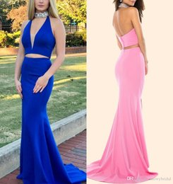 $enCountryForm.capitalKeyWord Australia - Royal Blue Mermaid Two Pieces Evening Dresses 2019 Halter Beaded Fit Low Back Teens Formal Evening Prom Party Dress Custom Made New Arrival