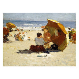 oil paint island Australia - Edward Henry Potthast paintings for sale Late Afternoon, Coney Island canvas modern Landscapes art hand-painted