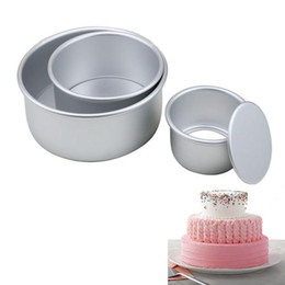 alloy cake baking UK - 3 Tiered Round Cake Mold Set Aluminum Alloy Cake Pan Set Non Stick Baking Pans 4 6 8 inch Cakes Mould Removable Bottom