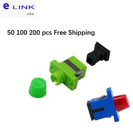 fiber apc NZ - 50 100 200pcs SC FC fiber optic adapter plastic blue green single-mode Simplex connector APC SM coupler free shipping IL<0.2dB