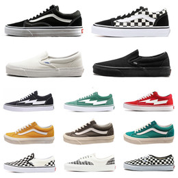 Tennis casual shoes online shopping - fear of god mens women canvas van sneakers van old skool sk8 skateboard shoes triple black white shark flat men casual shoe