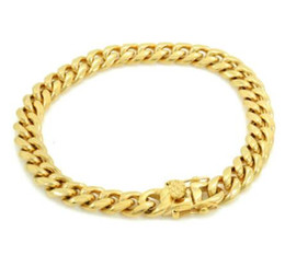 "18k cuban chain UK - Mens ANTI-TARNISH Cuban Miami Link 8"" Bracelet 18k Gold Over Stainless Steel 8mm"