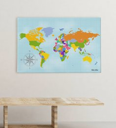 world map prints canvas UK - Personalized World Map Canvas Print (50x70 cm.) 3