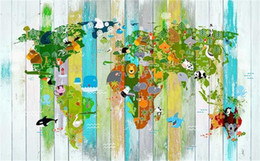 world map murals Australia - Custom 3D Photo Wallpaper Mural Living Room Sofa TV Backdrop Mural Cartoon Animal World Map Picture Wallpaper Mural Sticker Home Decor