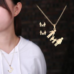 Discount couples earrings - Rinhoo family jewelry set gift gold Family of three couple pendant necklace earrings new design jewelry for girlfriend