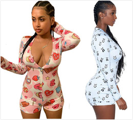 TighT shorTs jumpsuiT online shopping - 2 color new women short rompers sexy Jumpsuits deep V collar panda printed long sleeved button pants tight Rompers S XXL