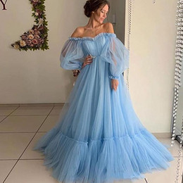 $enCountryForm.capitalKeyWord Australia - Sky Blue Prom Dresses With Off The Shoulder Tutu Tulle A Line Girls Pageant Dress Pleats Long Sleeves Cheap Evening Gowns Cheap