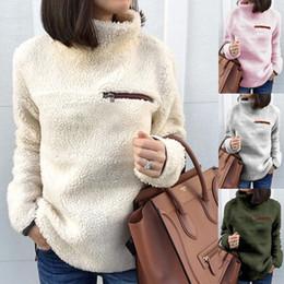 $enCountryForm.capitalKeyWord Australia - Autumn Winter plush coat loose jacket fleece zipper Hoodie Sweater Women Ladies Soft Knitted Casual Sweaters Outerwear pink