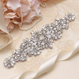 MissRDress Women Wedding Dress Belt Silver Crystal Flower Rhinestines Ribbon Bridal Belt And Sash For Wedding Gown YS838