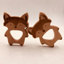 Infant Teethers Australia - 4pcs Infant Wooden fox shape Teethers for Baby Kids Molar Pacifier Chain Necklace Toys Food Grade Beech Teething Training Toy