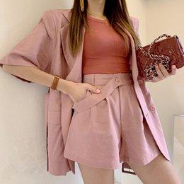 $enCountryForm.capitalKeyWord Australia - Women's solid color Short Pant Suits Top Jacket Blazer Loose Pant Suit double-breasted Femme Korea Two Piece Set Hot Sales