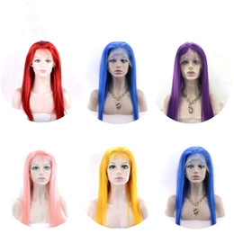 $enCountryForm.capitalKeyWord NZ - Lace Front Human Hair Wigs 150% Density Brazilian Hair Straight Human Hair Lace Wig Blue Red Pink Purple Yellow Wigs For Women