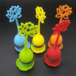 $enCountryForm.capitalKeyWord Canada - Vorkin Lotus Shaped Stainless Steel Tea Infuser Teaspoon Silicone Loose Leaf Herb Strainer Filter Diffuser Ball New