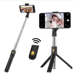 K07 Sem Fio Bluetooth Tripé Stand Selfie Vara Monopé Para IOS Android Telefone Inteligente Desktop Tripé Titular Mini Selfie Vara