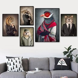 Lion canvas print online shopping - Fashion Lion Dog Elephant Bird Wolf Wall Art Canvas Painting Nordic Posters And Print Animal Wall Pictures For Living Room Decor
