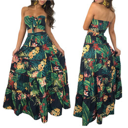 9c2f3bbfbfa1 Sexy Girl Lady Two Piece Dress Top Long Wrap Skirt Sexy Strapless Floral  Print High Waist Maxi skirt with crop top ruffle