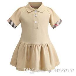 Polo Girls Australia - 2019 Fashion Spring Summer New Kids Girls Lapel POLO shirt children's short-sleeved cotton princess dress cream brand kids clothing