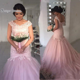 Pretty White Prom Dresses Australia - Cheap Pretty Pink Lace Long Prom Dress Cap Sleeves Appliqued Beading Sequined Mermaid Dresses Party Evening