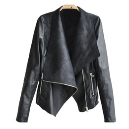 sexy motorcycle jacket 2019 - Liva Girl Women Autunm Winter PU Leather Coat Black White Apricot Long Sleeve Outerwear Coat Sexy Lady Bomber Motorcycle