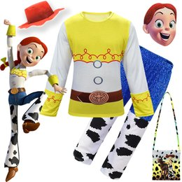 chinese hot water bag Australia - Hot Saleing kid Toy Story 4 Jessi Cosplay Costume Woody Cowboy Costume Top-shirt Pants Hat bag Accessories Halloween Custom Made