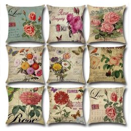 decorative beds NZ - 45*45cm American Country Rose Flowers Prints Cushion Cover without Pillow Core Sofa Linen Throw Pillow Home Decorative Pillowcase Bedding