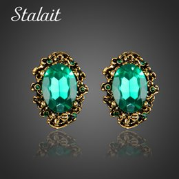 antique bronze studs Canada - Cheap Stud Earrings Fashion Wedding Accessories Antique Bronze Vintage Green Big Stone Crystal Rhinestone Stud Earrings For Women Jewelry