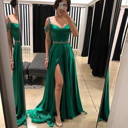 $enCountryForm.capitalKeyWord Australia - abiye Hot Sale Split Prom Dresses Green A Line Elegant Evening Gowns Crystals Vestidos de festa Satin Plus Size Formal Dress
