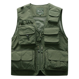 Wholesale travel jacket pockets resale online – Outdoor Men s Tactical Fishing Vest jacket man Multi Pockets Sleeveless travel Jackets XL XL XL