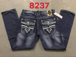 Wholesale Mens Robin Rock Revival Jeans Crystal Studs Denim Pants Designer Trousers Men s size