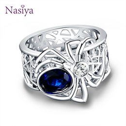 $enCountryForm.capitalKeyWord Australia - New Arrival Spider Silver Jewelry Rings High Quality Sapphire Gemstones Punk Party Ring For Women Men's Jewerly Wholesale Gift