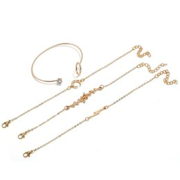 $enCountryForm.capitalKeyWord Australia - 4 Pcs Gold For Apple interface Grass Moon Charm Bracelet Set For Women Crystal Bracelets Fashion Jewelry