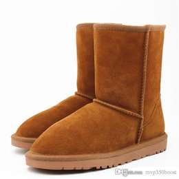 Woman genuine leather high heels boots online shopping - Winter Women Snow Boots Fashion High Quality Genuine Suede Leather Australia Classic Warm Winter Shoes Woman