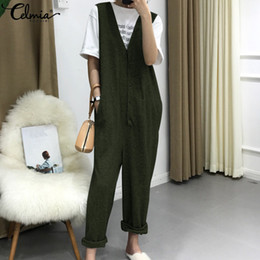 Harem Jumpsuits Women Australia - Celmia 2019 Summer Sleeveless Rompers Women Jumpsuit Sexy V-neck Buttons Harem Pants Casual Loose Playsuits Plus Size Overalls C19040301