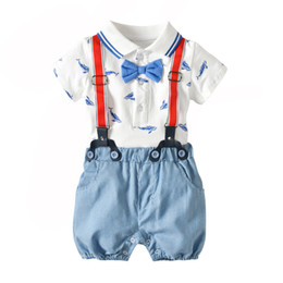 4977733dbe6 Summer Baby Boy Gentleman Clothing Sets Kids Boy Printed Whale Rompers with  Cotton Overalls Children Fashion Casual Outfits